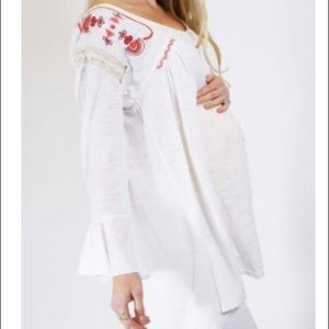White with Embroidery Maternity top